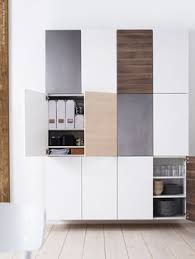 large wall of ikea kitchen cupboards no handles or knobs just