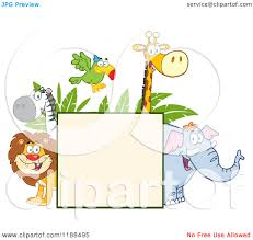 cartoon of a square sign and happy zoo animals over leaves