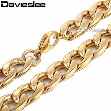 wholesale steel necklace chains images 13mm mens chain smooth curb link gold tone stainless steel jpg
