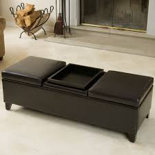 Leather Chair With Ottoman Weston Home Coffee Table Ottoman With 4 Trays In Faux Leather