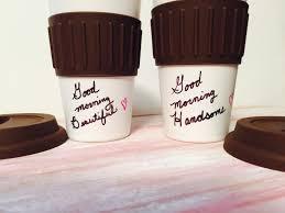 Ceramic travel coffee mug handpainted couple gifts anniversary