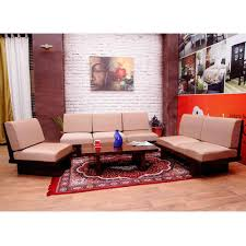 Solid Teak Wood Furniture Online India Induscraft 6 Seater Sofa Set With Centre Table Sofas Homeshop18