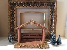 crèche manger wood nativity stable nativity scene wood inn