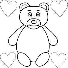 teddy bear and four hearts coloring page valentine u0027s day