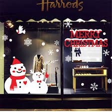 Christmas Window Decorations For Home by Aliexpress Com Buy Creative Snowman Brothers Christmas Wall