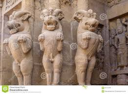 asian lion statues sculptures lion statues in hindu temple stock image image of