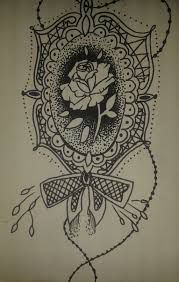 rose in a frame tattoo design by sketchymandarin on deviantart