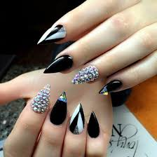 black claws black claws girly nails rhinestones image