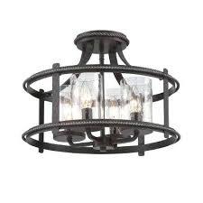 Iron Ceiling Light Light Black Semi Flush Mount Ceiling Light