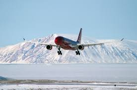 air greenland airbus a330 200 on approach to kangerlussuaq airport