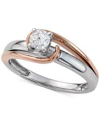 3 engagement ring diamond two tone engagement ring 1 3 ct t w in 14k white and