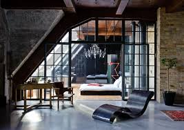loft furniture ideas for industrial bedroom with curvy black chair