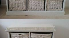 fantastic white hallway storage bench with baskets and cushion