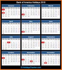 bank of america holidays 2018 holidays tracker