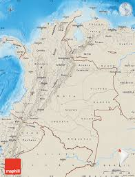 Map Of Colombia Shaded Relief Map Of Colombia