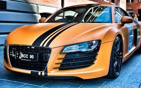 wrapped r8 audi r8 matte orange vinyl wrap car wrap boat stickers