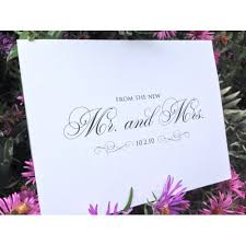wedding thank you cards mr and mrs with date wedding thank you