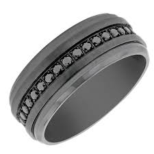 mens black titanium wedding rings benchmark mens black cubic zirconia wedding band in black titanium