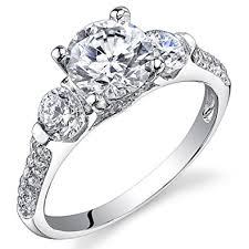 engagement ring uk revoni sterling silver 3 cut simulated diamond