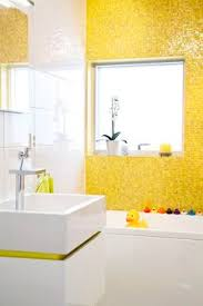 yellow tile bathroom ideas simple blue themes bathroom with wall decal design and