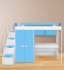 Bunk Bed With Study Table Buy Boston Study Bunk Bed Set In Blue White Colour By Alex