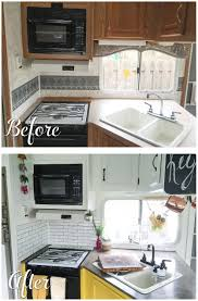 before and after pictures of a rv kitchen renovation camper