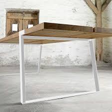 Esszimmertisch Massiv Eiche Esstisch Eiche Tischplatte Weiße Tischbeine Tisch Massiv Eiche