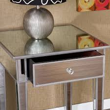 furniture mirrored accent table with single drawer and door for
