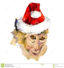 cool christmas monkey king portrait in a cool christmas hat stock illustration