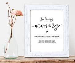 in loving memory wedding sign in loving memory printable wedding memorial table sign memory