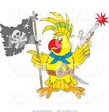 vector clip art of a yellow parrot pirate holding a flag and