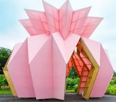 pink pineapple pavilion pops up in english garden curbed