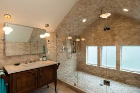 Traditional Bathroom Vanity Lights Seattle Pebble Stone Shower Bathroom Traditional With Neutral Top