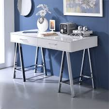 Chrome Office Desk Acme Coleen Home Office Desk In White And Chrome 92229