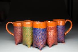 rustic burlap textured tripod mugs u2013 dash pottery
