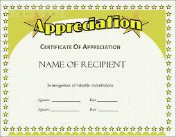 appreciation certificate templates free download certificate of