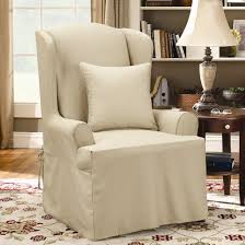 Wing Chairs For Living Room by Decorating Chic Single Wing Back Chair With Surefit Cover On