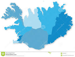 Iceland World Map Blue Map Of Iceland With Regions Stock Photo Image 34568750