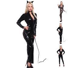 catsuit halloween costumes pvc wetlook shiny leopard catwoman costume catsuit jumpsuit