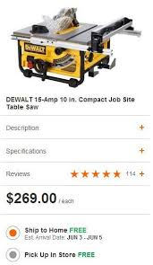 home depot rigid table saw black friday dewalt dw745 compact table saw on sale for 269 at homedepot