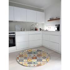 cuisine carreau de ciment tapis rond carreaux de ciment jaune 60x60cm toodoo tapis cuisine