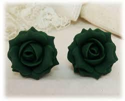 green roses emerald green stud earrings clip on earrings