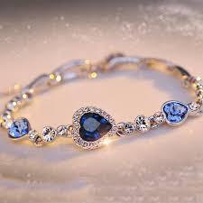 blue bangle bracelet images Ocean blue crystal rhinestone heart bangle bracelet cosmetic beauty jpg