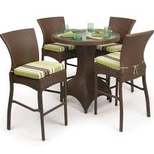 Bar Height Patio Dining Set by Furniture Rounded Tempered Glass Dining Table With Chromed Metal