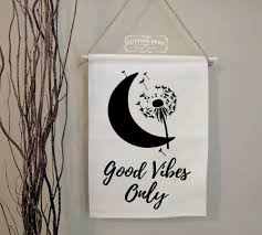 good vibes only moon dandelion cotton canvas banner wall decor