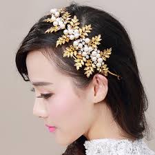wedding headpieces vintage headdress bridal hair accessories gold color leaf