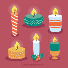 collection of various christmas candles vector free download
