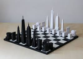 New York travel chess set images Stylish chess set pieces modeled after iconic nyc architecture jpg