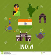 Pot Flag India Culture And Travel Concept Stock Vector Illustration 55206883