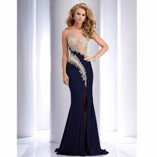 navy blue dress navy blue side split beaded top illusion back evening gown prom